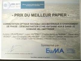 XLIM prix du meilleur papier aux JNM 2017