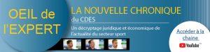 Nouvelle chronique du CDES : l'oeil de l'expert !