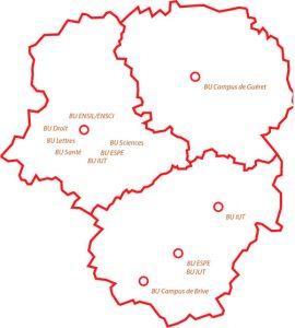 Carte des bibliothèques de l'Université de Limoges