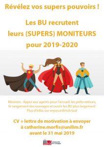 Les BU recrutent leurs moniteurs pour l'année 2019-2020