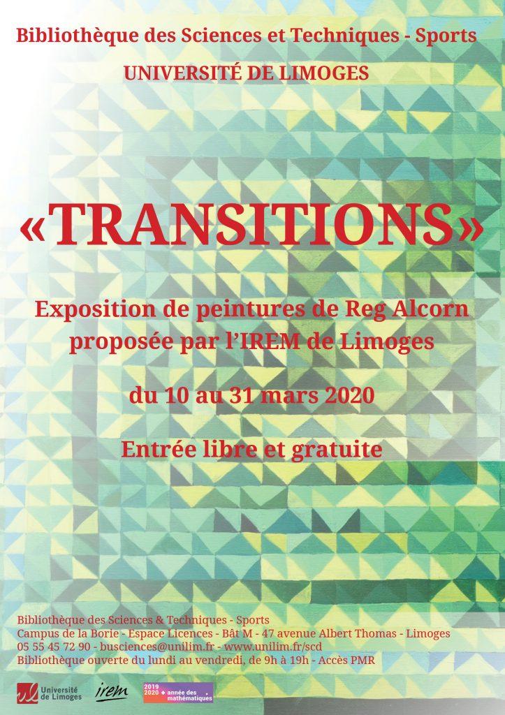 """Affiche de l'exposition """"Transitions"""" de Reg Alcorn"""