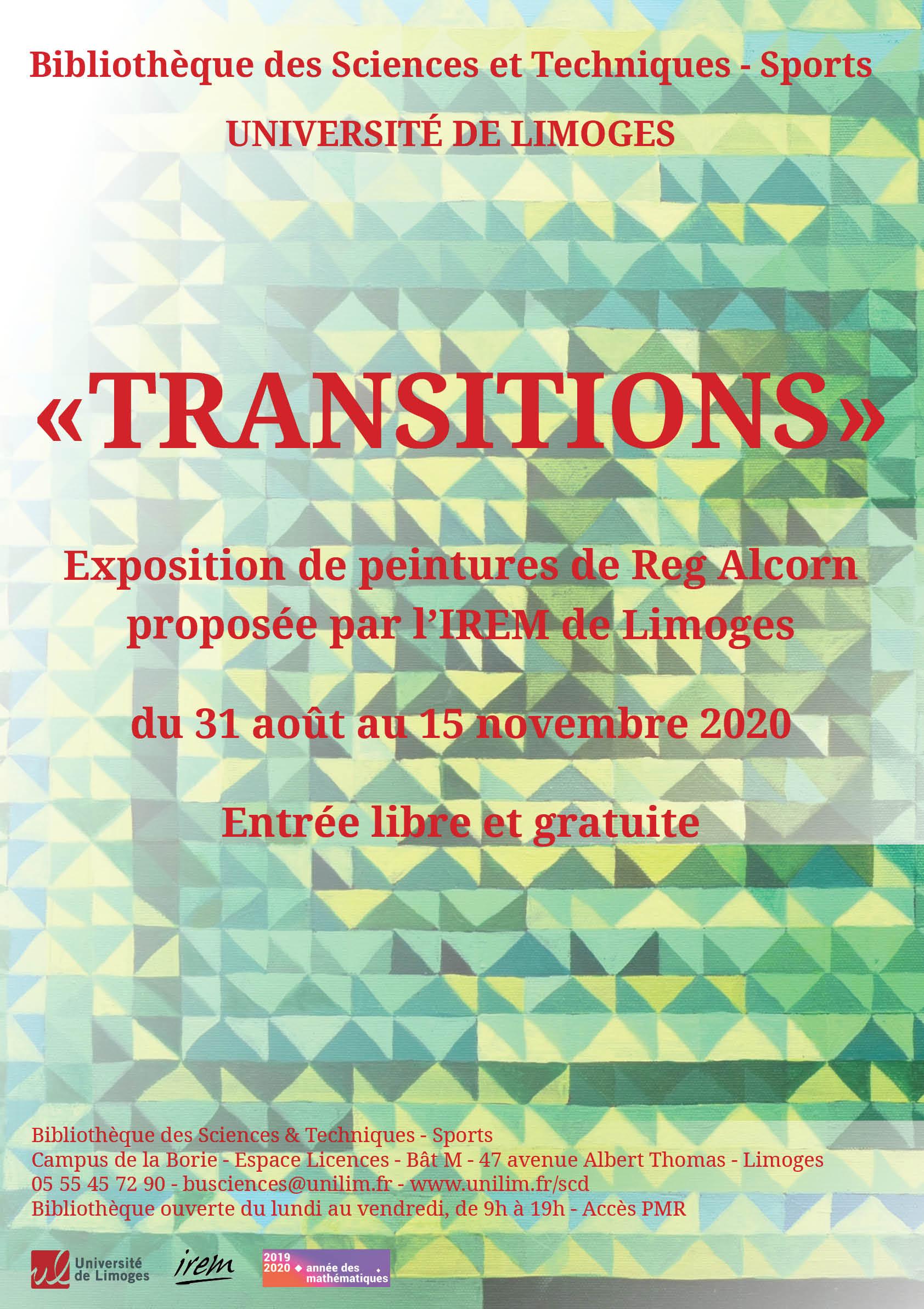 Affiche de l'exposition Transitions de REg Alcorn et de l'IREM de Limoges